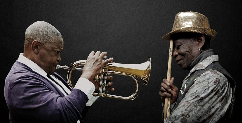 Hugh Masekela & Tony Allen ©Brett Rubin & Bernard Benant